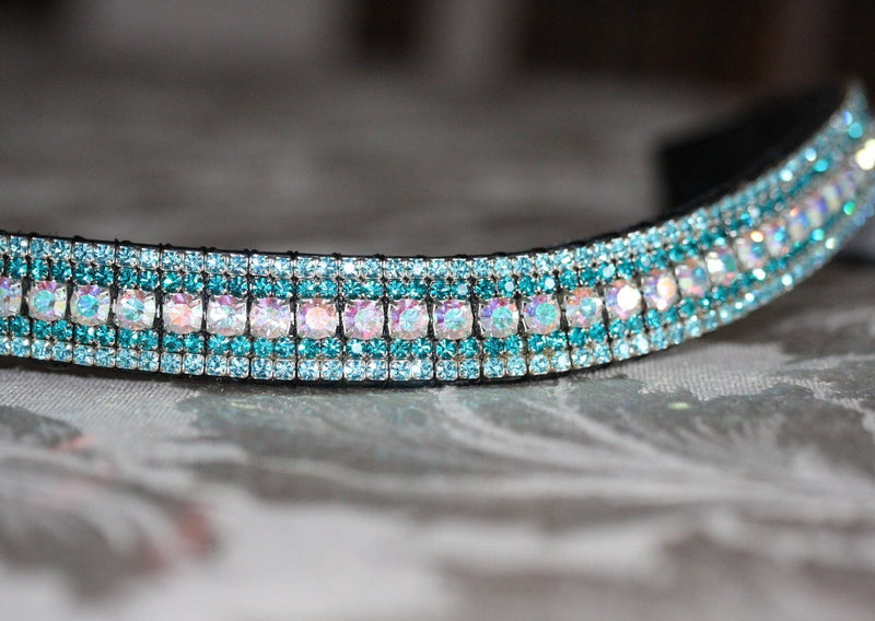 Iridescent, blue zircon and aquamarine curve megabling browband
