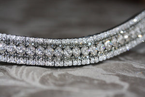 Swarovski tiffany clear crystal and black diamond megabling curve browband