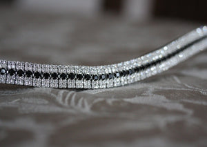 Jet and clear antique browband