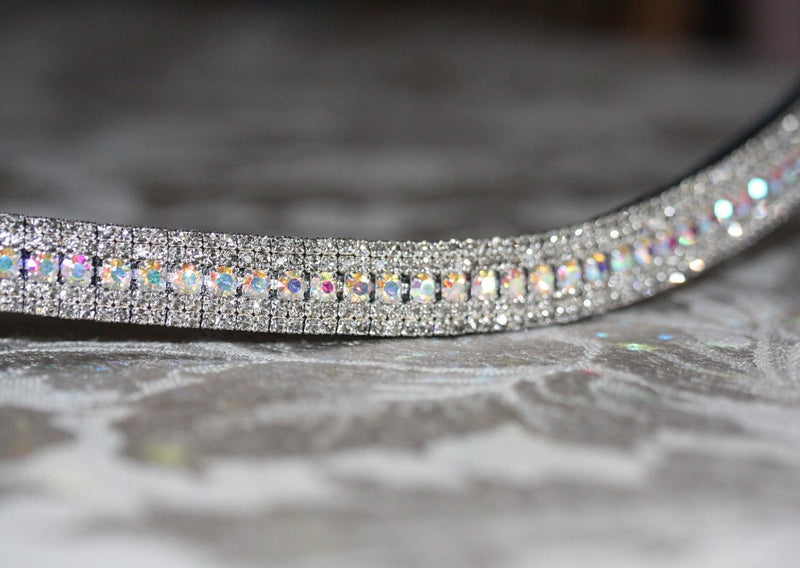Iridescent and black diamond antique browband