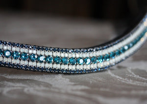 Indicolite, opal and montana megabling curve browband