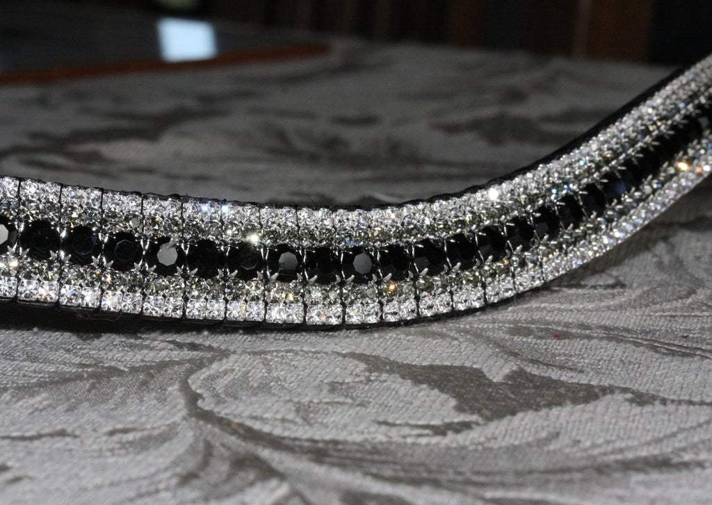 Jet, black diamond and clear megabling curve browband