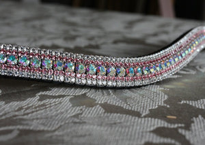 Iridescent, light rose and clear megabling curve browband