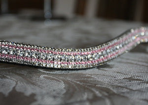 Clear, light rose and black diamond megabling curve browband