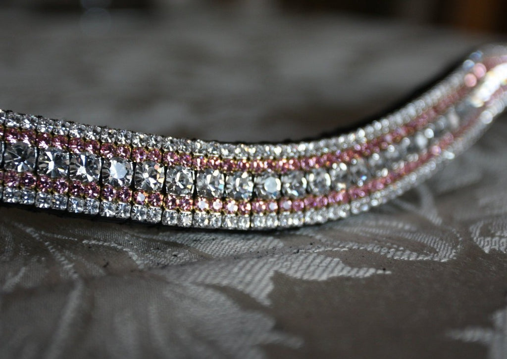 Clear and light rose megabling curve browband