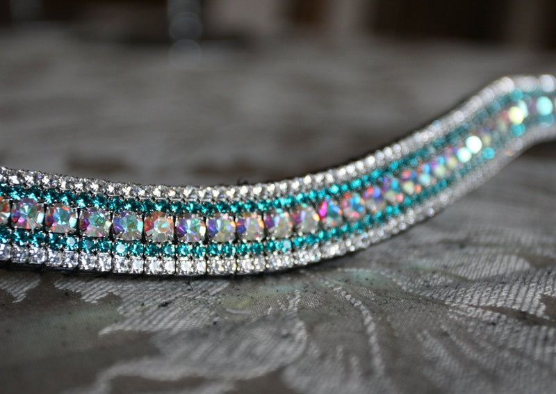 Iridescent, blue zircon and clear megabling curve browband