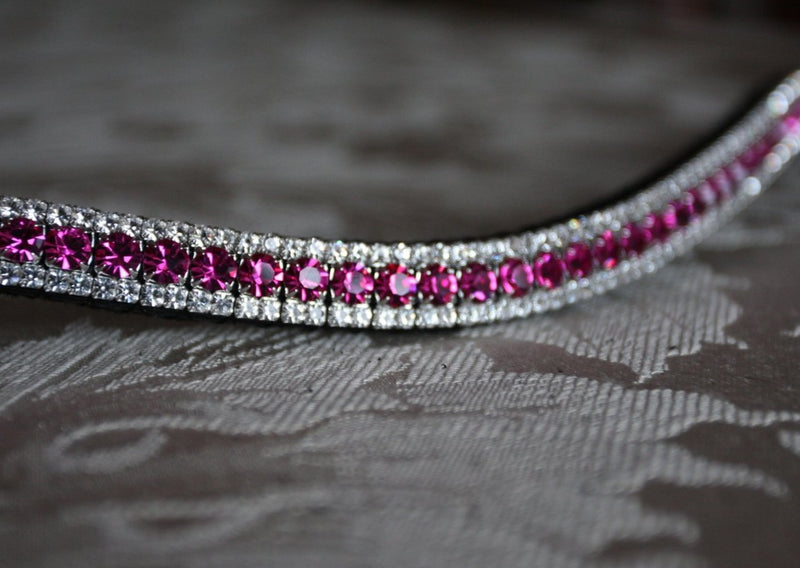 Fuchsia and clear crystal browband