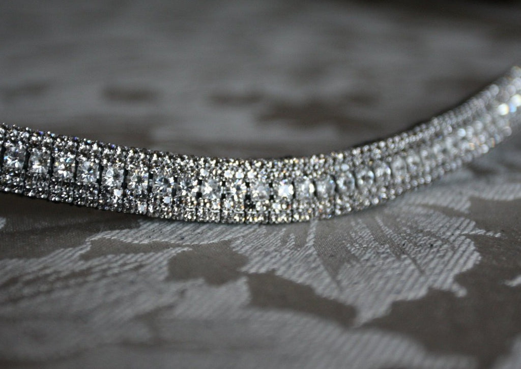Clear and black diamond antique look browband
