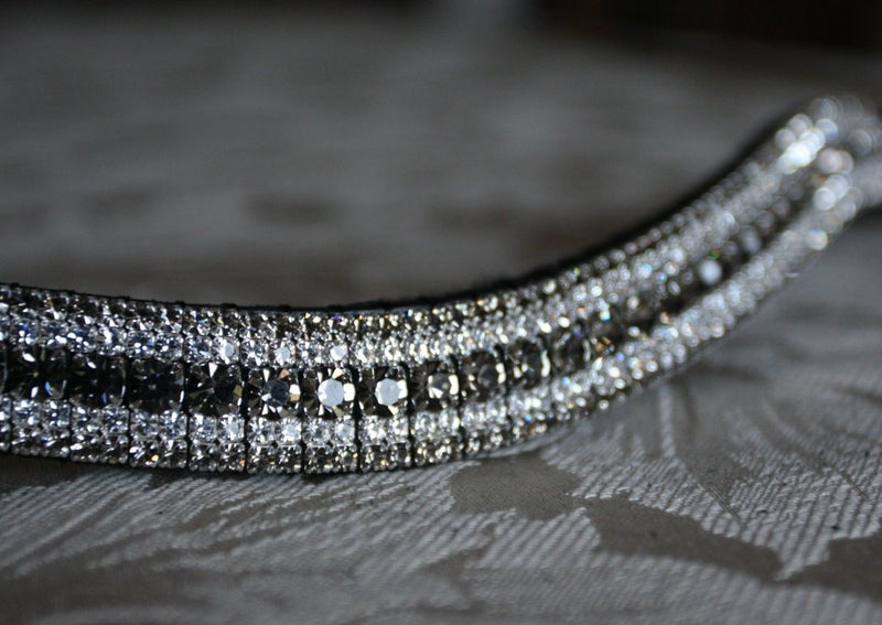 Black diamond and clear megabling curve browband