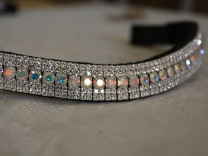 Iridescent and clear megabling curve browband