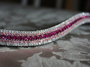 Fuchsia, light rose and clear megabling curve browband