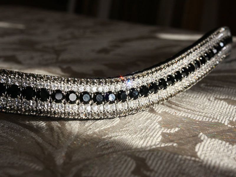 Jet, clear and black diamond megabling curve browband