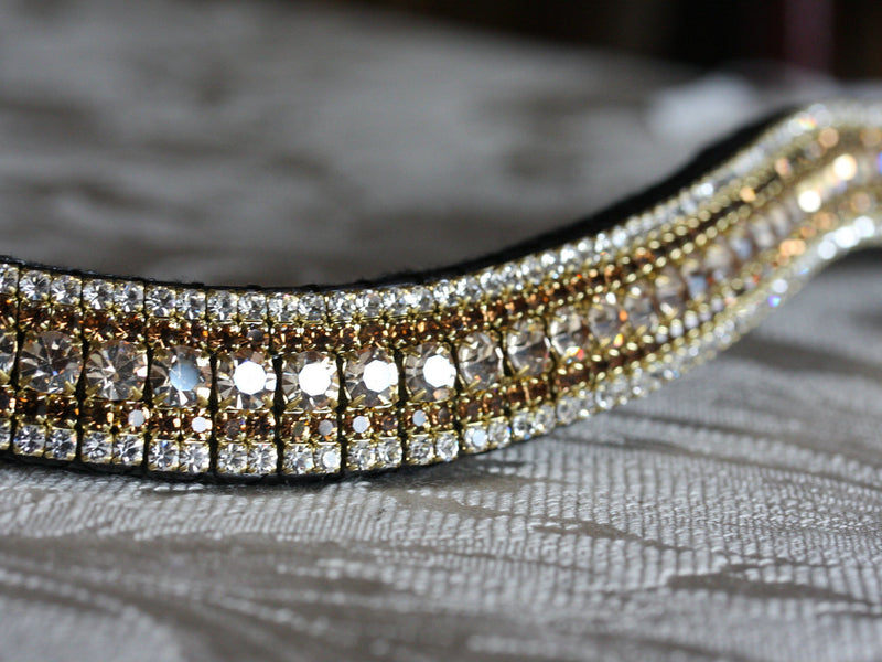 Honey, smoke topaz and clear megabling curve browband