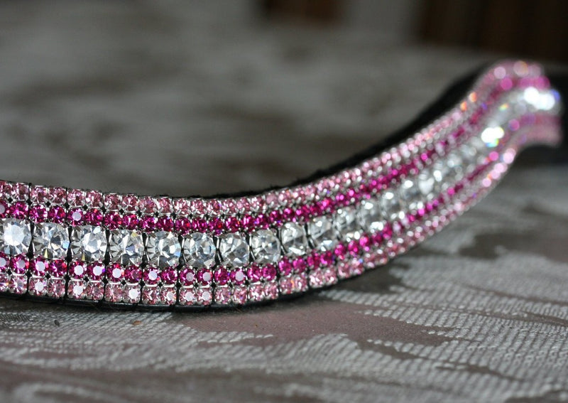 Clear, fuchsia and light rose megabling curve browband