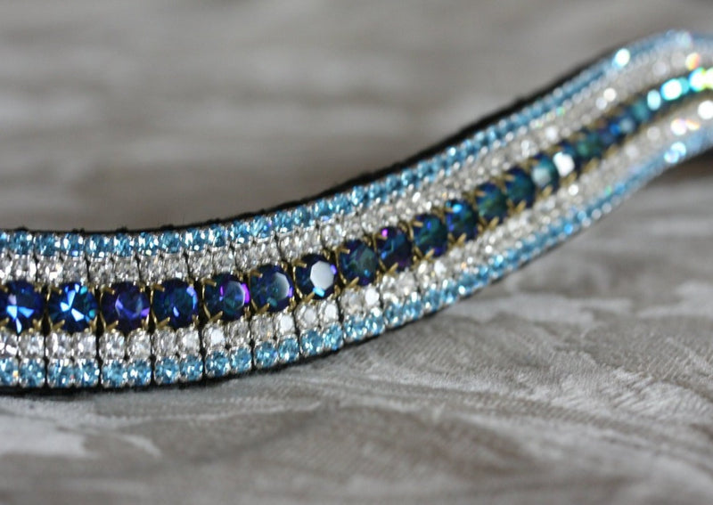 Bermuda blue, clear and aqua megabling curve browband