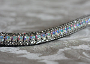 Iridescent and black diamond browband