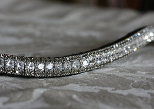 Clear crystal and black diamond browband