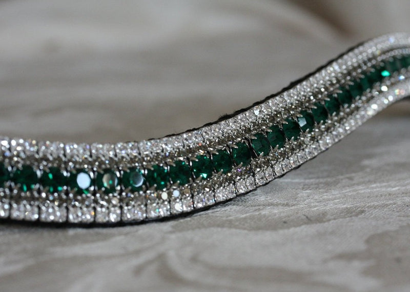 Emerald, black diamond and clear megabling curve browband