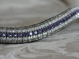 Tanzanite, clear and black diamond megabling curve browband