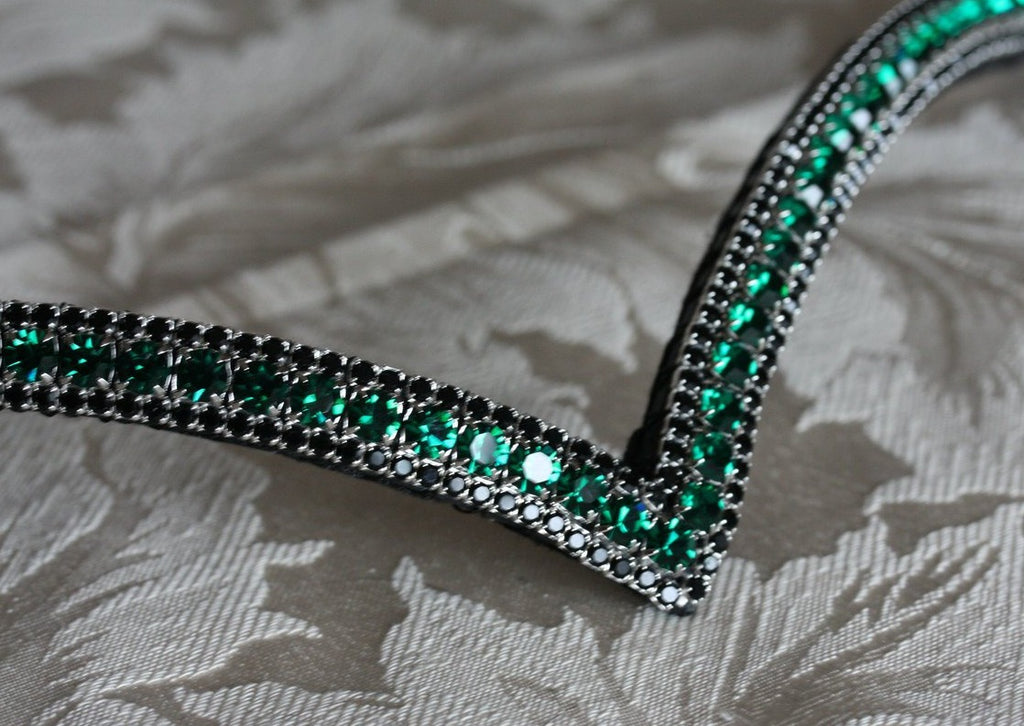 Emerald and jet browband