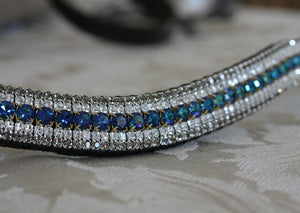 Bermuda blue, clear and black diamond megabling curve browband