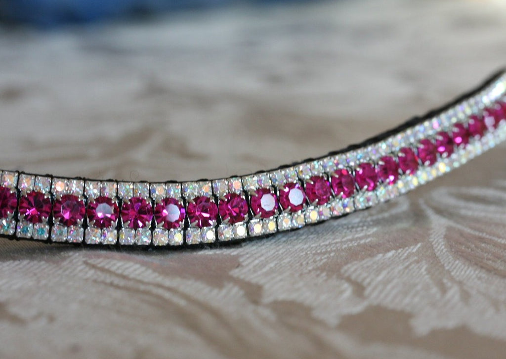 Fuchsia and iridescent browband