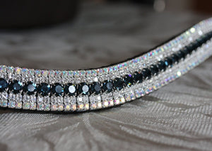 Montana, clear and iridescent megabling curve browband