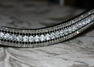 Clear, jet and black diamond megabling curve browband