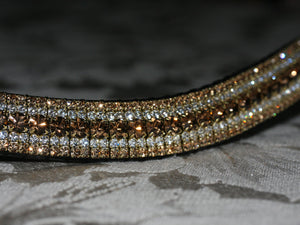 Smoke topaz, clear and light colorado megabling curve browband