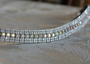 Iridescent and clear antique look browband