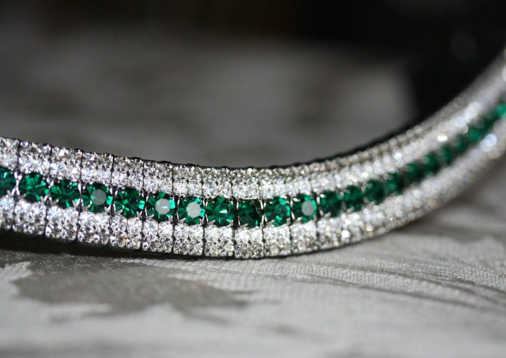 Emerald, clear and black diamond megabling curve browband