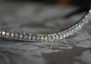 Iridescent and black diamond antique elegante browband
