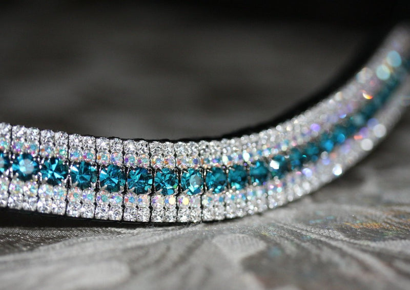 Indicolite, iridescent and clear megabling curve browband
