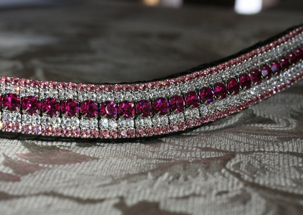 Fuchsia, clear and light rose megabling curve browband