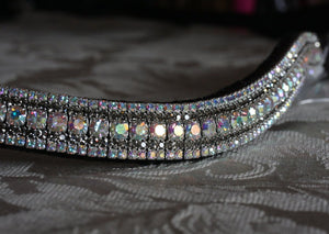 Iridescent and black diamond megabling curve browband