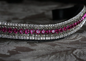 Fuchsia, black diamond and clear megabling curve browband