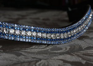 Clear, sapphire and light sapphire megabling curve browband