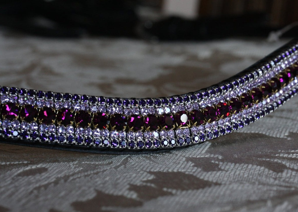 Amethyst, violet and deep tanzanite megabling curve browband