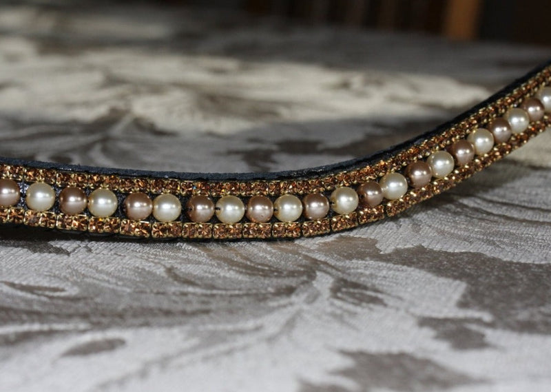 Cream and mocha pearl and smoke topaz browband
