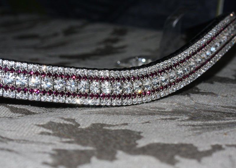Clear, amethyst and clear megabling curve browband