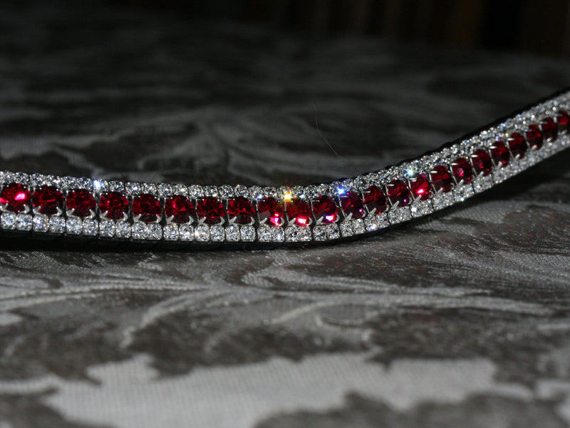 Ruby and clear browband