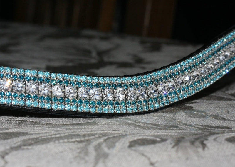 Clear, indicolite and aquamarine curve megabling browband