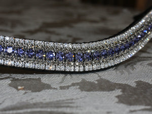 Tanzanite, black diamond and clear megabling curve browband