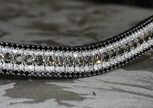 Black diamond, clear and jet curve megabling browband