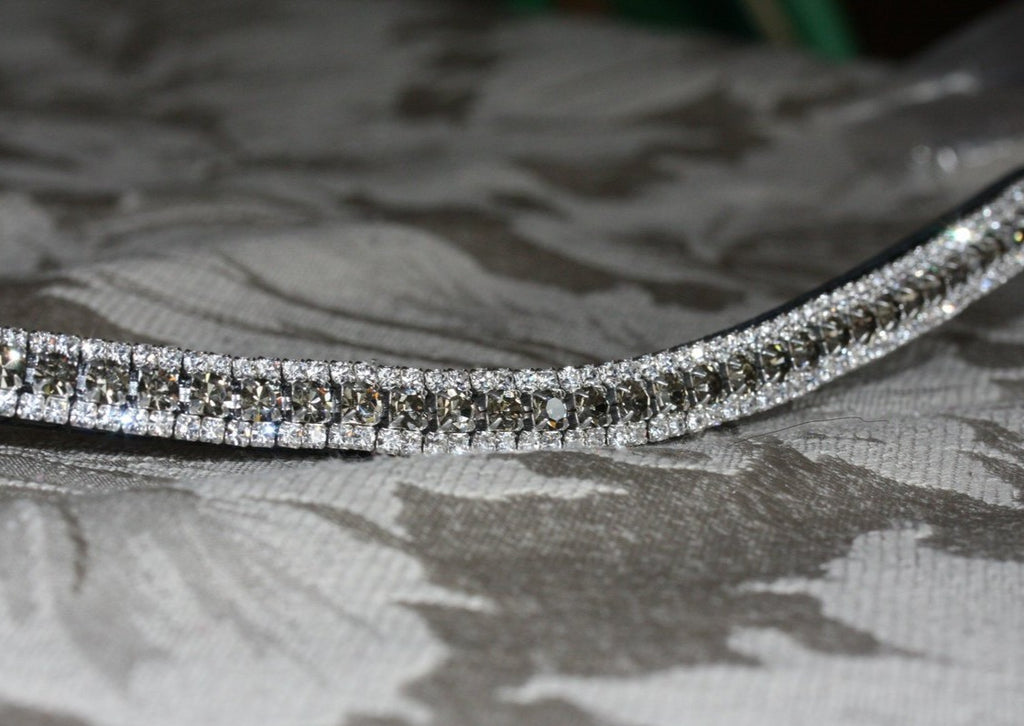 Black diamond and clear antique elegante browband