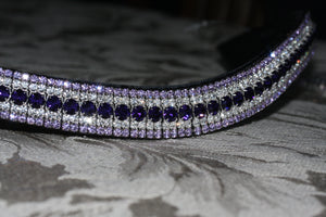 Purple velvet, clear and violet megabling curve browband