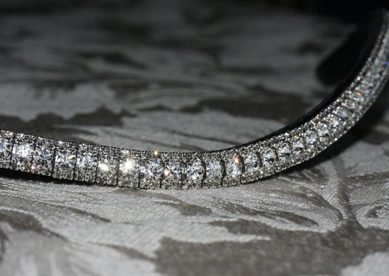 Clear and black diamond antique elegante browband