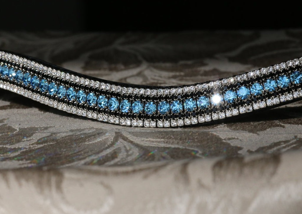 Aquamarine, jet and clear megabling curve browband