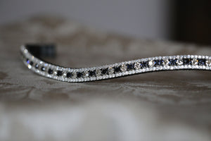 Swarovski Tiffany alternating graphite and silver shade browband