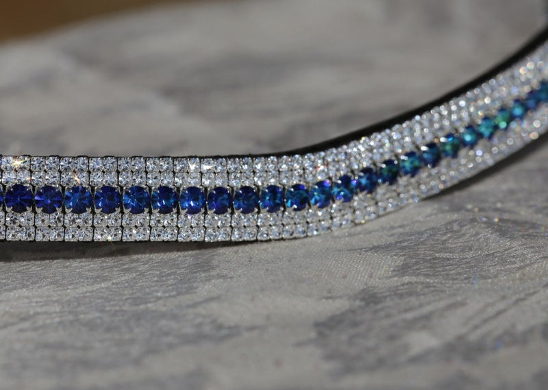Bermuda blue and clear megabling curve browband